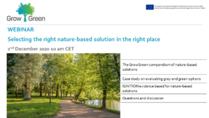 GrowGreen webinar: Selecting the right nature-based solution in the right place